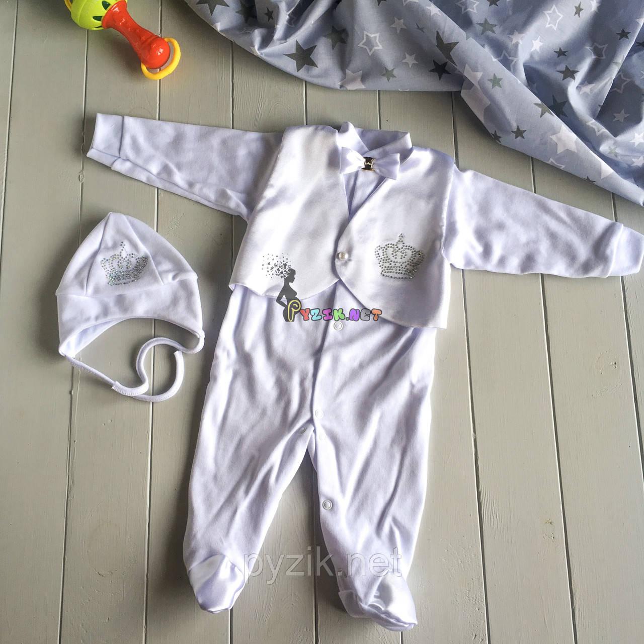 Крестильный набор для новорожденного (человечек+шапочка) Сеньор 4