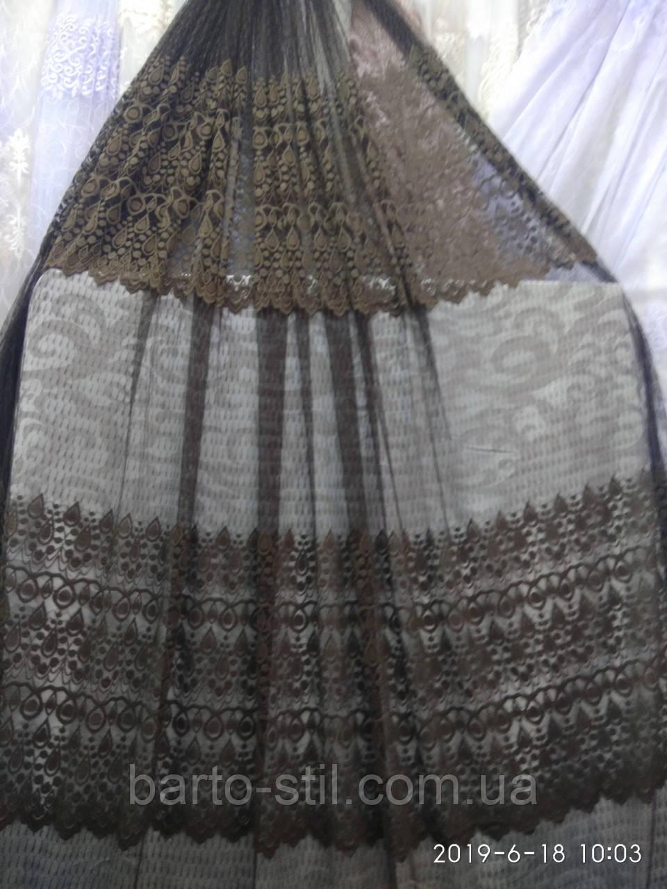 Тюль с ажурным ресунком (основа фатин) Высота 3 м