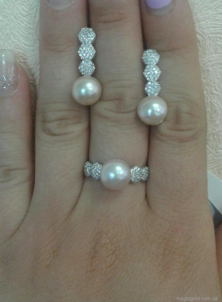Срібне кільце з перлами Нереїда