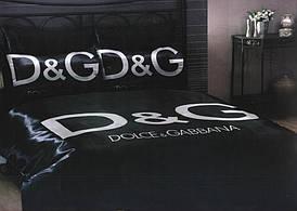 Комплект Атласного постельного белья Dolche&Gabbana black с простынью на резинке