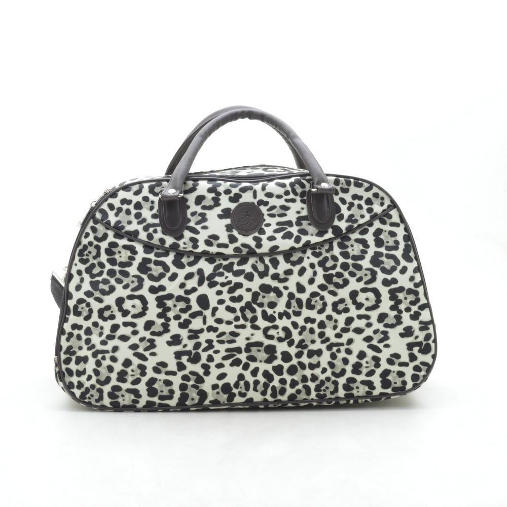 Дорожная сумка женская леопард светлая кожзам 181262