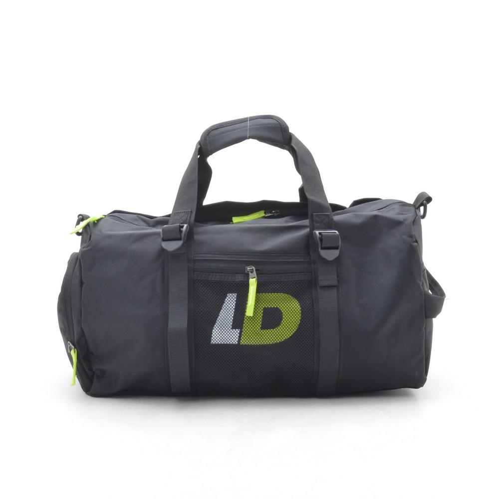 Дорожная сумка спортивная черная LD (зеленые буквы) 181133