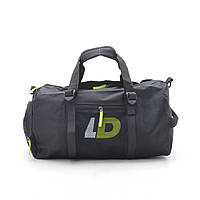 Дорожная сумка спортивная черная LD (зеленые буквы) 181133, фото 1