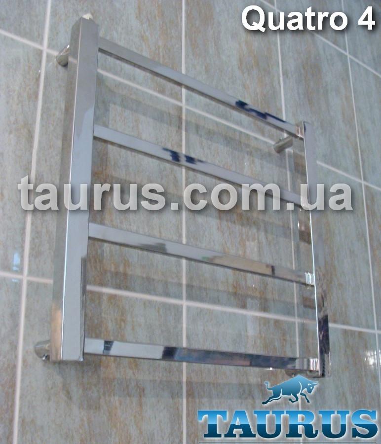 Малый квадратный полотенцесушитель Quatro 4/ 450х450 мм. Вода, тэн или 2 контура. Плоский