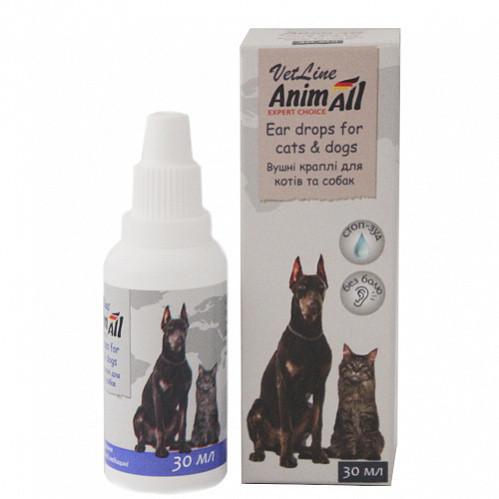 Капли AnimAll VetLine Енімал Ветлайн для догляду за вухами для кішок і собак 30 мл