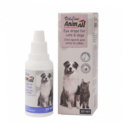 Капли AnimAll VetLine Енімал Ветлайн для догляду за очима для кішок і собак 30 мл