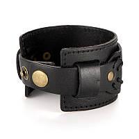 Мужской кожаный браслет напульсник Primo Manjet - Black