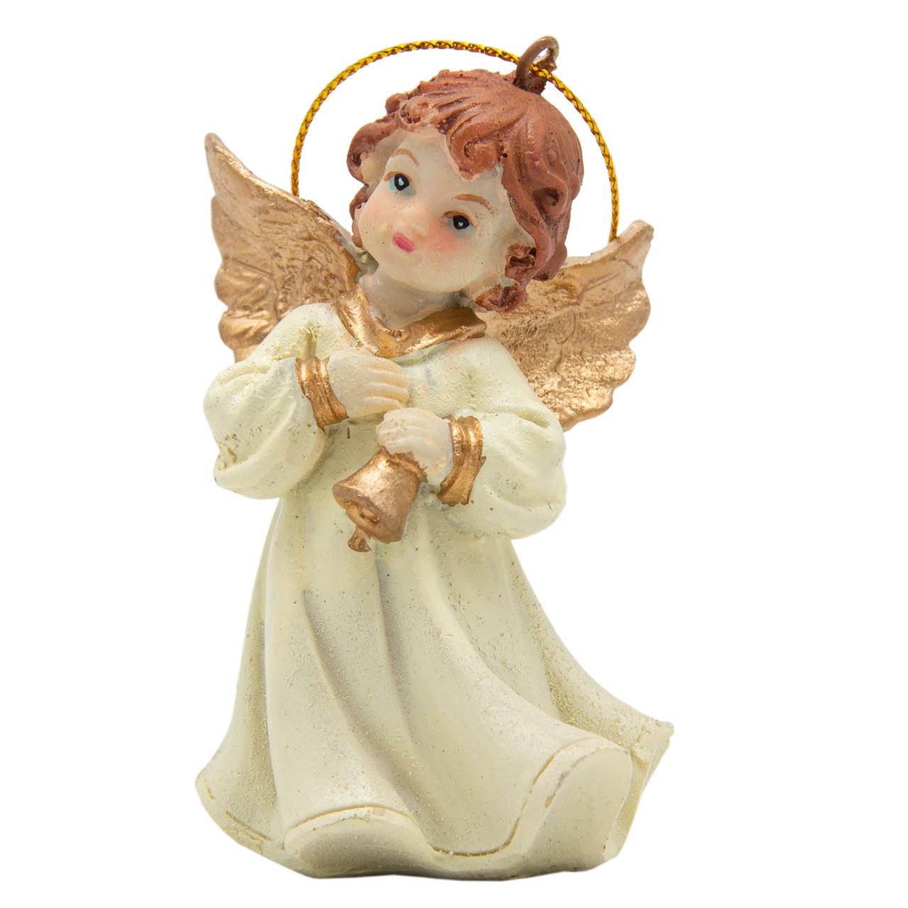 Новогодняя сувенирная фигурка из полистоуна, h-7 см, Ангелочек с колокольчиком, (000333-3)