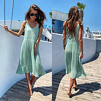 Пляжное ажурное платье-сарафан