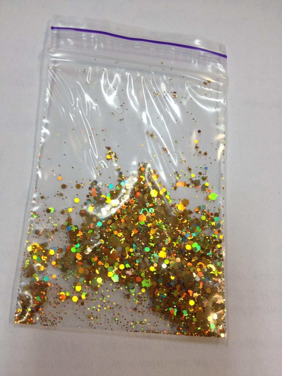 Конфеті на нігті золото голограма