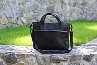 """Черная сумка для ноутбука """"Топ-Менеджер"""", Кожаная мужская сумка мессенджер"""