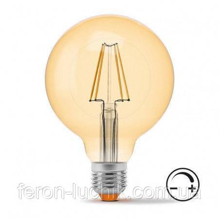 LED лампа FILAMENT G95 7W під диммер, колір бронза