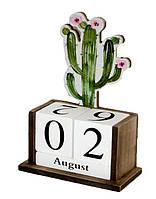"""Вечный календарь """"Кактус и цветы"""" Размер: 14,5-7-20 см."""