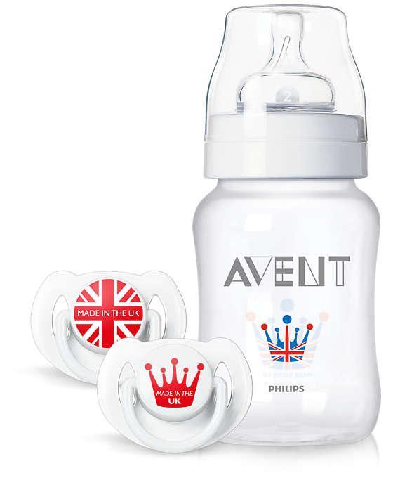 Подарочный набор Avent Royal (Королевская коллекция) бутылочка 260 мл, набор пустышек 6-18 мес 2шт.(SCD683/31)