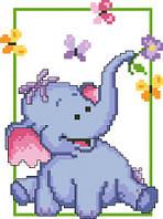 Схема для вышивки на канве Счастливый слоненок РКан 5015