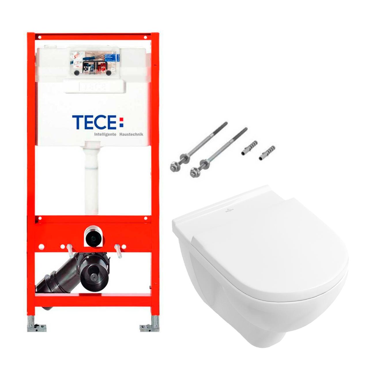 Установочный модуль TECE base 3 в 1 без клавиши + унитаз V & B O.Novo Directflush