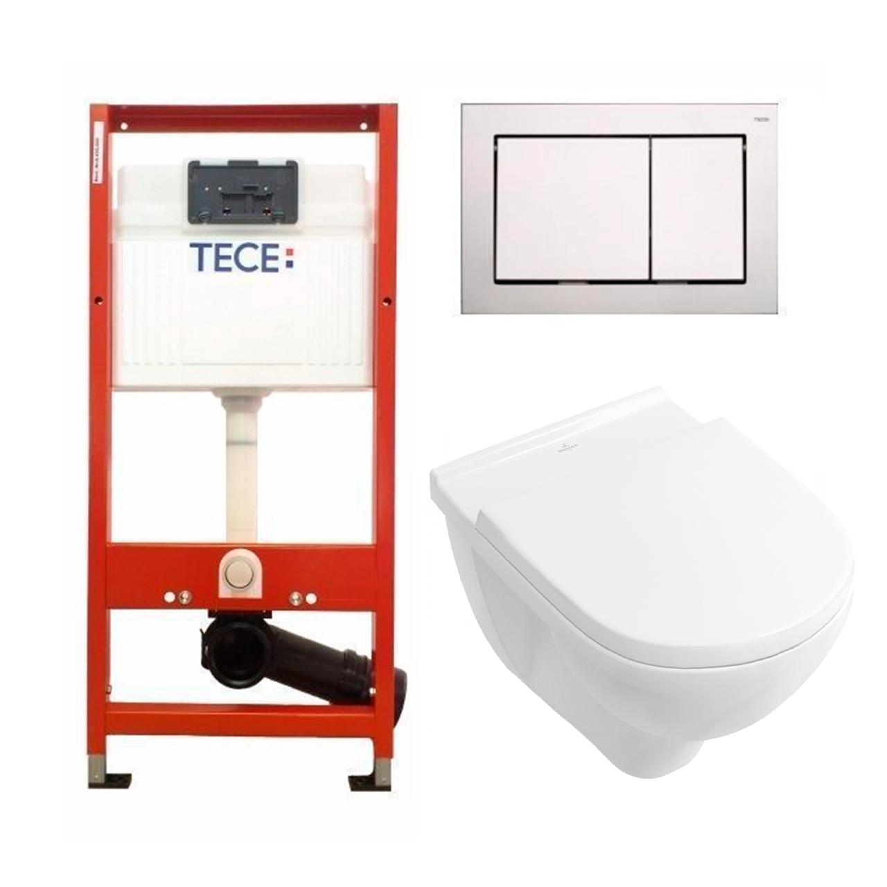 Установочный модуль TECE base 4 в 1 с клавишей Base + унитаз V & B O.Novo Directflush