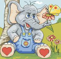 Схема для вышивки на канве Веселый слоник РКан 5518