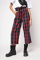 Женские штаны Sindel  летние стильные брюки клеш в клеточку (черные с красным)