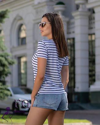 """Жіноча базова річна смугаста футболка з кишенею """"Believe"""" біла (молочна), фото 2"""