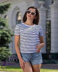 """Женская базовая летняя футболка в полоску с карманом """"Believe"""" белая (молочная)"""