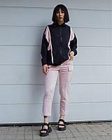 """Женская ветровка """"Harley Quin""""  легкая стильная на молнии (черная с розовым)"""