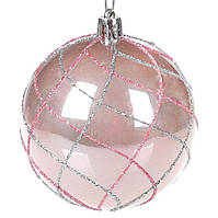 Елочный шар 8см, набор 12 шт,  цвет - нежно-розовый перламутр