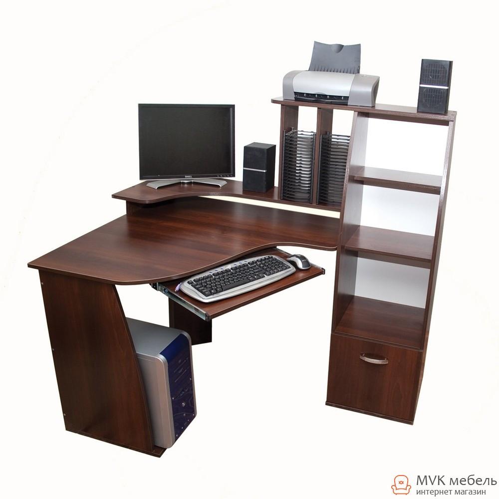Угловой компьютерный стол с пеналом Ника-28