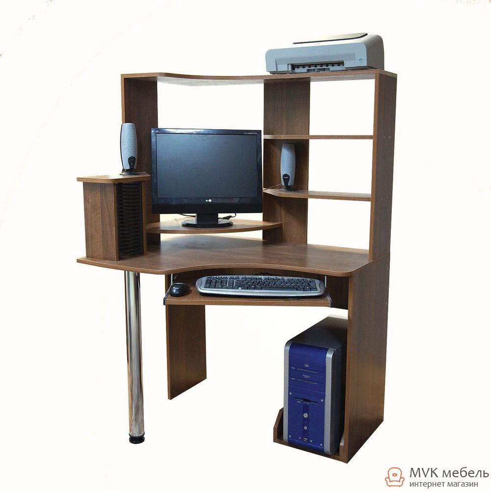 Угловой компьютерный стол с полками Ника-37