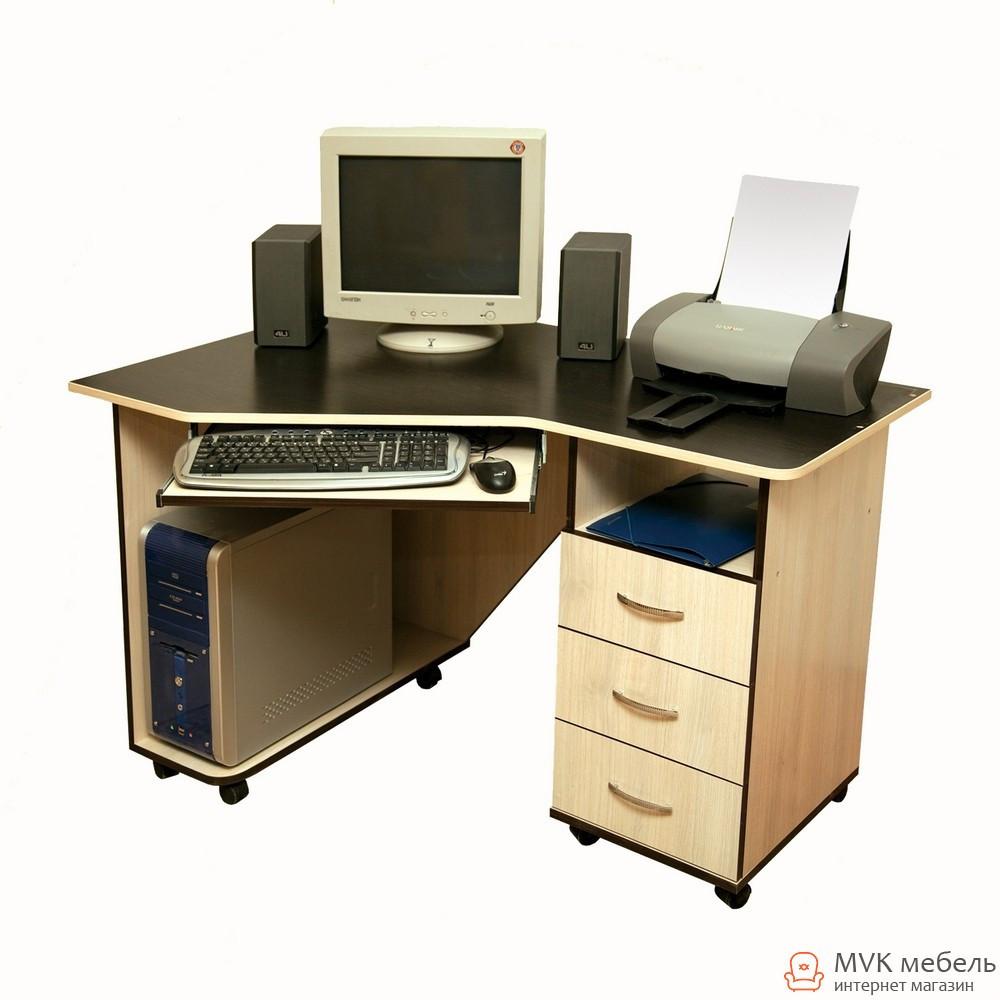 Угловой компьютерный стол на колесах Ника-40