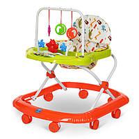 Детские ходунки с игровой панелью и дугой с подвесками BAMBI M 0591 Orangе Гарантия качества. Быстрая доставка