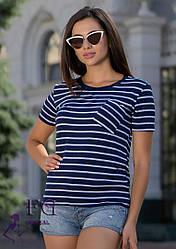 """Женская легкая синяя футболка в белую полоску с карманом """"Believe"""""""