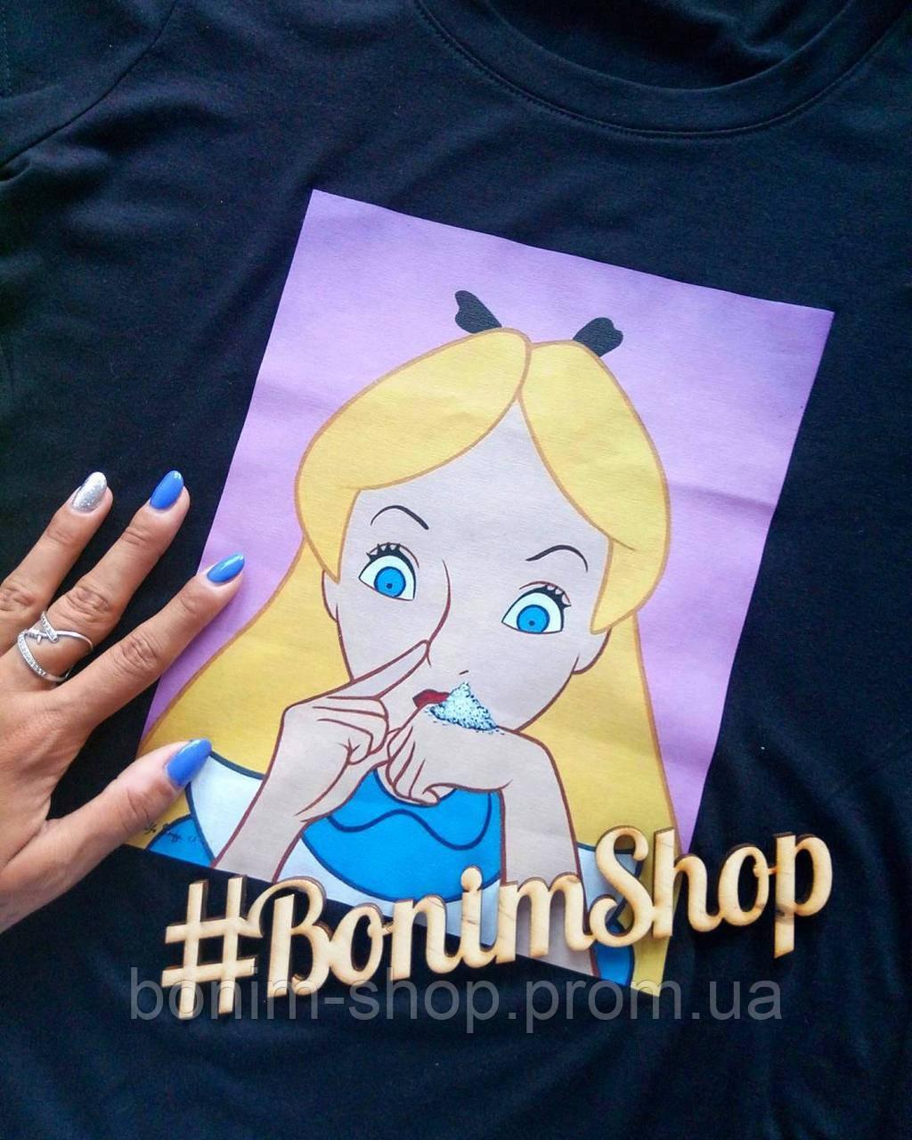 Черная женская футболка с принтом Bad Alice in Wonderland