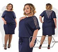 Платье-блузон миди прямое из летнего джинса с короткими рукавами-кимоно, кулиской по талии, 1 цвет