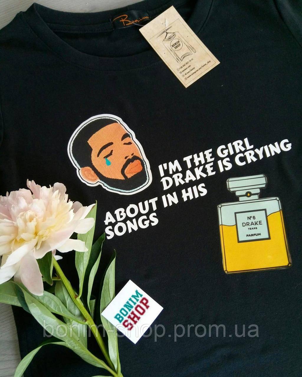 Черная женская футболка с принтом Drake is crying