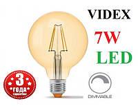Світлодіодна лампа G95 диммируемая 7W E27 2200K LED Едісона Filament VIDEX, фото 1