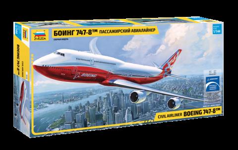 Сборная модель самолета. Пассажирский авиалайнер Боинг 747-8. 1/144 ZVEZDA 7010