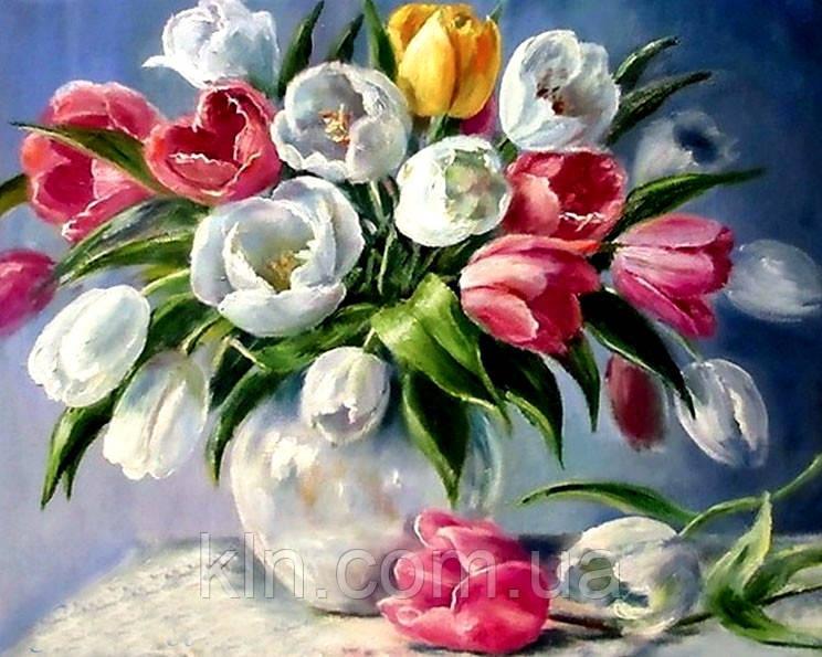 Алмазна вишивка на підрамнику Ароматні тюльпани у вазі 40 х 50 см (арт. TN867)