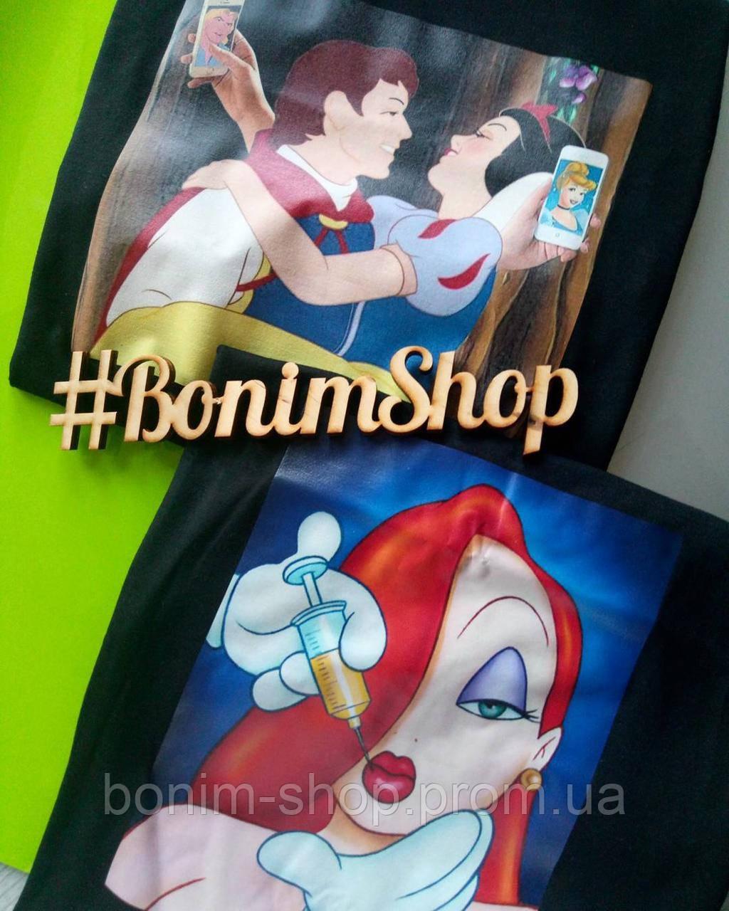 Женская черная футболка с принтом Disney Bad Girls