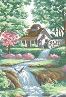 Схема для вышивки на канве Водяная мельница РКан 3019
