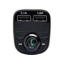 Авто FM модулятор Car X8 Bluetooth + USB + microSD, трансмиттер для авто, автомобильный плеер, черный, фото 3