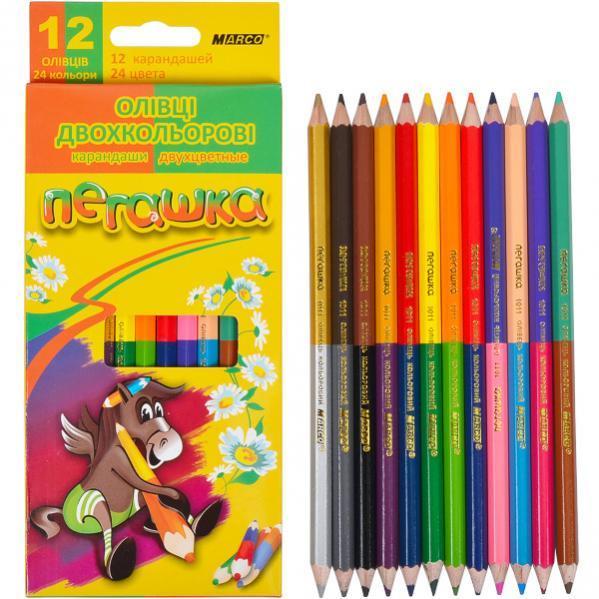 """Цветные карандаши Marco """"пегашку"""" 12 шт 24 цвета"""