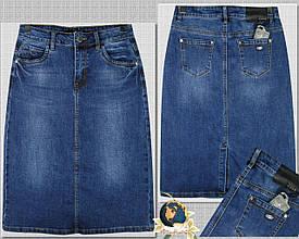 Джинсовая юбка стрейчевая классическая синего цвета 64 см длина