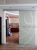 Раздвижные стеклянные двери с художественным матированием