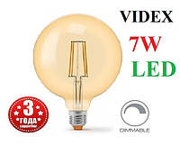 Светодиодная лампа G125 диммируемая 7W E27 2200K LED Эдисона Filament VIDEX