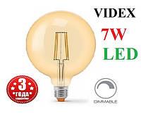 Світлодіодна лампа G125 диммируемая 7W E27 2200K LED Едісона Filament VIDEX
