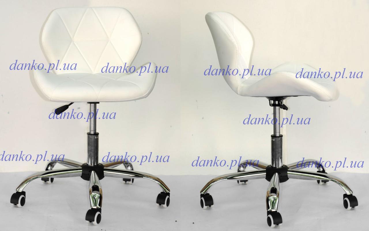 Кресло мастера маникюра на колесиках Invar Office (Инвар) ЭкоКожа белое