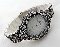 Часы женские - Geneva platinum -  циферблат белый, soft tach, череп