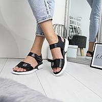 Кожаные повседневные женские сандалии на липучке 742408