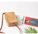 Сумка жіноча прямокутна плетені з ротанга пляжна. Сумочка Балі солом'яний, фото 8